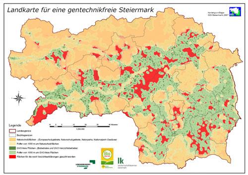 Gentechnik freie Steiermark Karte