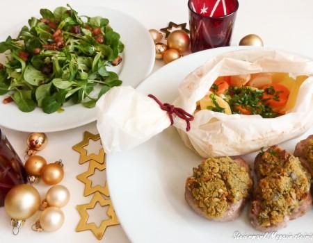 Schweinemedaillons mit Kürbiskernkruste & Erdäpfel-Gemüsepäckchen
