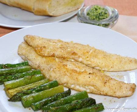 Fischfilet mit gebratenem Spargel & Bärlauchbutter