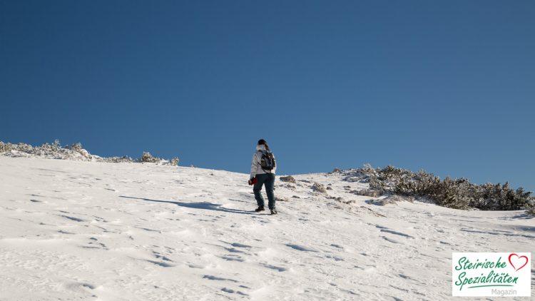 Schneewanderung in der Steirmark im Urlaub
