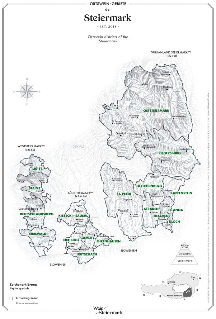 Weingebiete Steiermark Karte